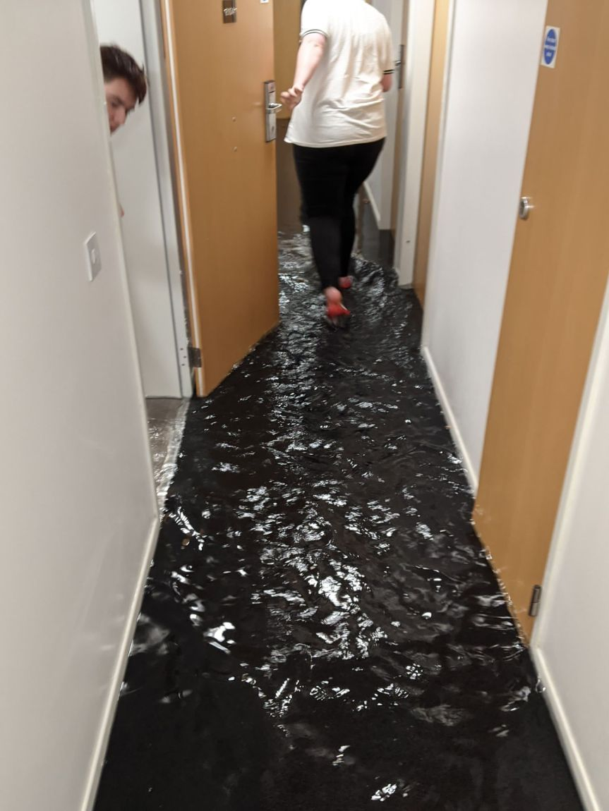 Flat flood forces university students out of their accommodation during fire breaklockdown